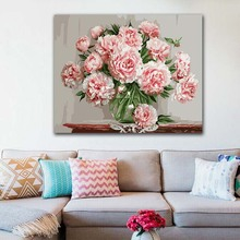 DIY colorings pictures by numbers with colors Pink rose flower arrangement picture drawing painting framed Home