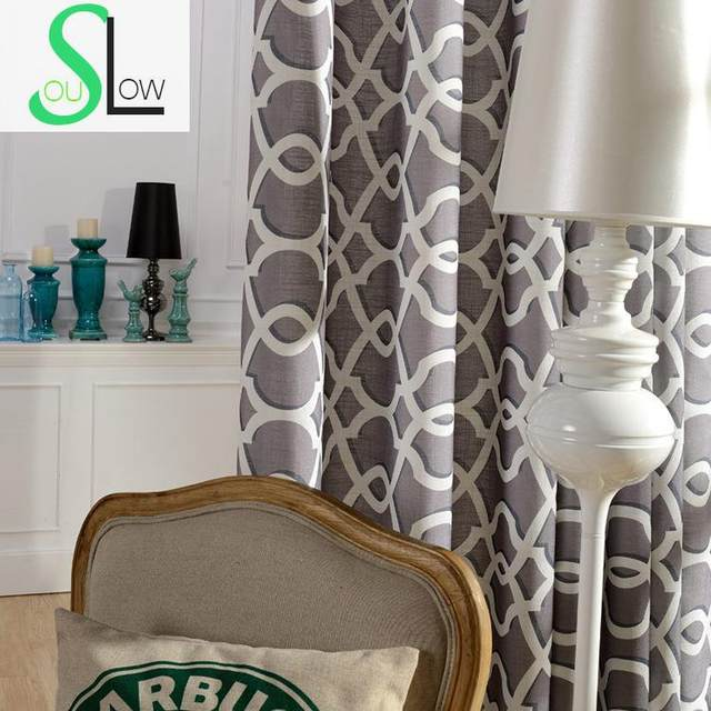 Slow Soul Rhythm Fabric Curtain Cotton French Window Pastoral Printed Curtains For Living Room Luxury Light Blue Dark Coffee