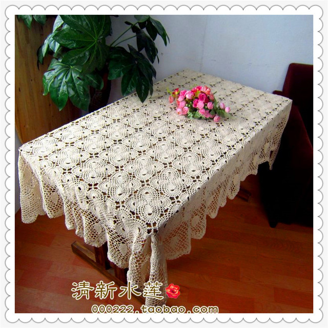 2016 New Fashion Natural Cotton Crochet Rectangular Lace Tablecloth