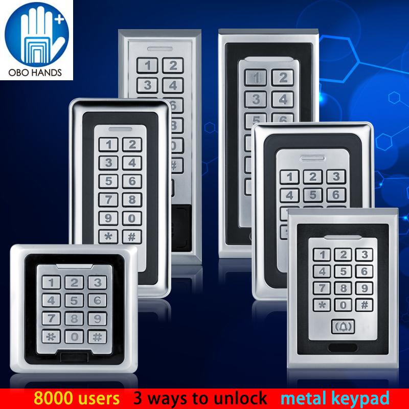8000 Users Different Design Metal Access Control Keypad RFID 125KHz Card Reader + 10 TK4100 RFID Key good quality metal access control card reader standalone single door access controller with touch keypad 8000 users capacity