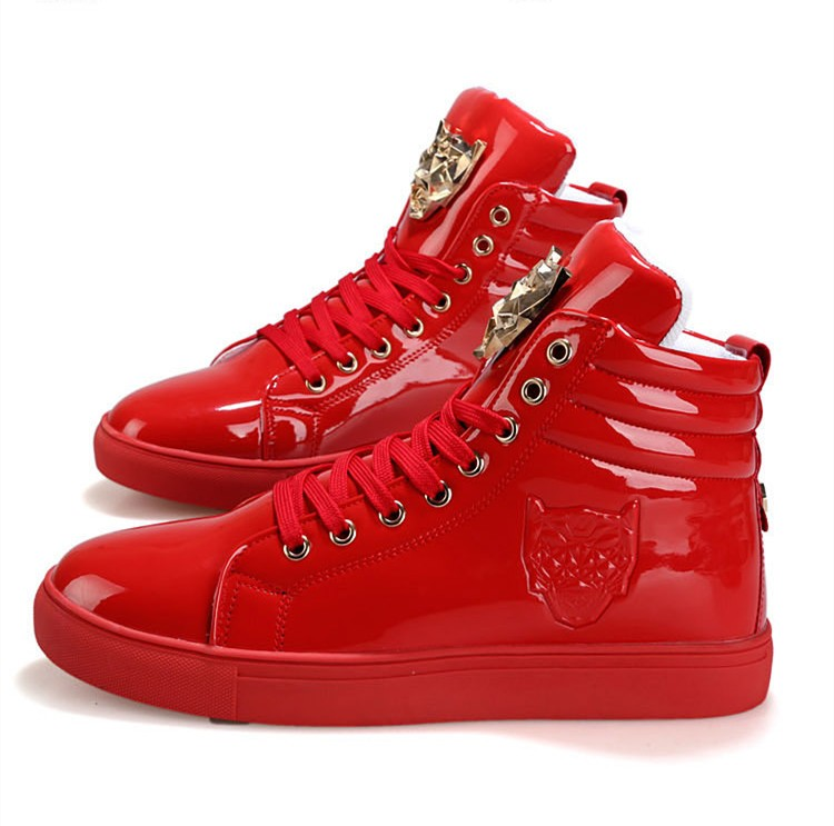 Fashion Leopard Sequined Skate Shoes For Men Ankle Boots 2015 New PU Patent Leather Shoe High Top Casual Flats Medusa Shoes F184 (14)