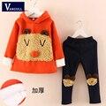 Primavera e no outono e inverno 2015 Crianças Meninas de Inverno novas crianças Panda 2 peça terno camisola.
