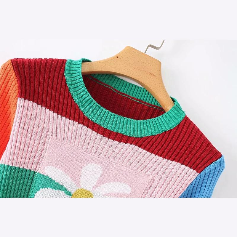 Cuello Suéter Delgado Contraste De Color Lindo Decoración Retro Redondo Daisy wIfgqc8F