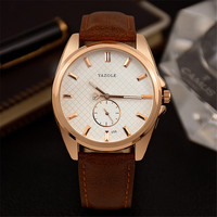 Men S Watch Fashion Luxury Brand Black White Round Dial Really Pin Two Needle Half Leather