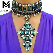 MYDANER Women Fashion Luxury Crystal Chokers Pendant Maxi Statement Necklace for Women Wedding Charm Sexy Collier Jewelry