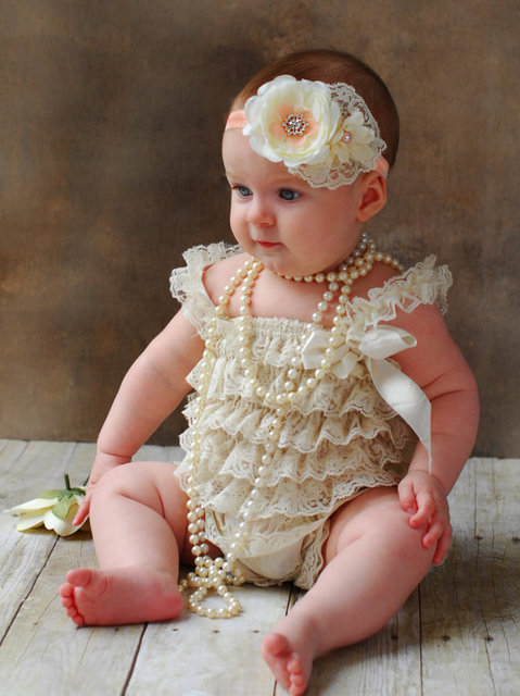 fcc827a2c5c6 Hot Retail Baby Ivory Lace Romper Infant Toddler Petti Ruffled Strap Rompers  One-Piece with