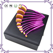 New 10pcs purple handle good bend pinceles de maquillaje profesional black leather box for permanent makeup