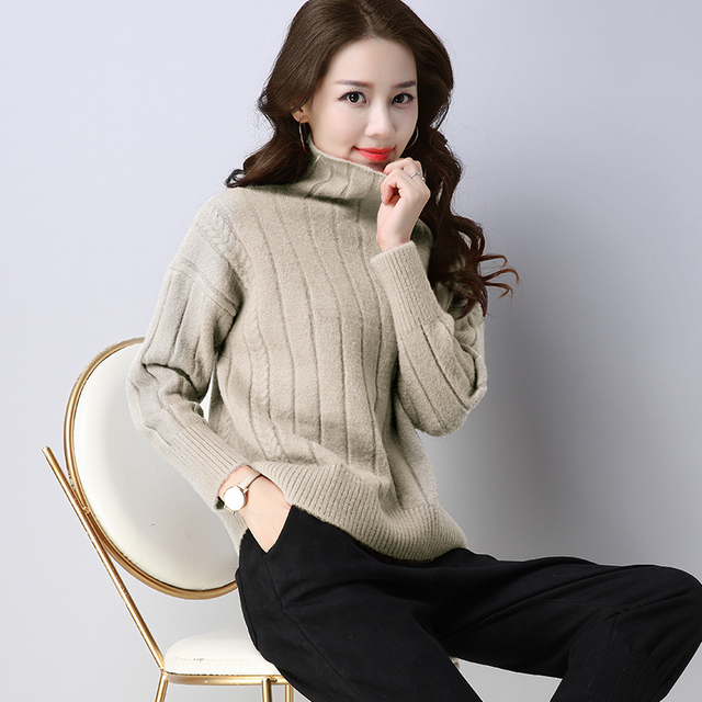 2017 New Cashmere thick Knitted Sweater Women Tops Turtleneck Autumn Winter  Female oversized Pullover Loose Casual 29933a6a8