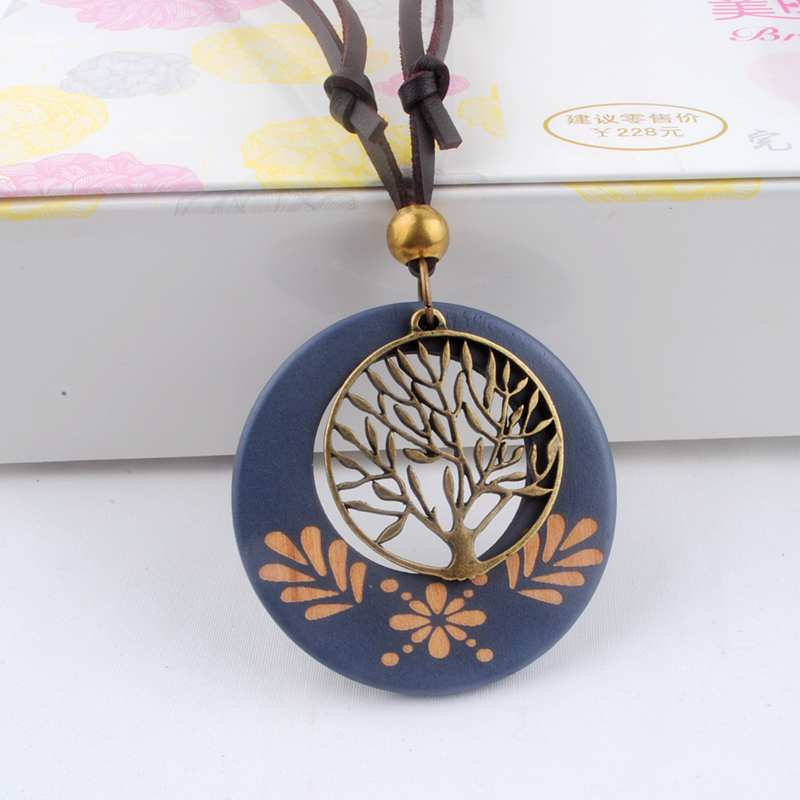 Antique Vintage Long Rope Chain Necklace Wooden Alloy Tree Pendants Neckless Cord Men Jewelry Accessories Free Shipping(China)