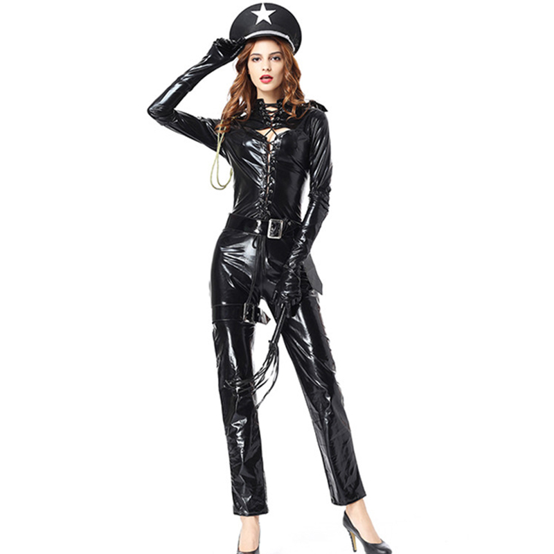 Black Faux Leather Jumpsuit Sexy Long Sleeve Policewoman Cosplay Costume Fancy Halloween Costumes Cop Outfit Overalls