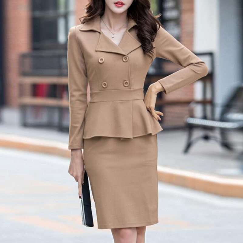 Brand Womens Dress Suits Double Breasted Blazer+Pencil Dress Formal Wear Office Lady Work Business Outfit 2 Piece Female Clothes formal wear