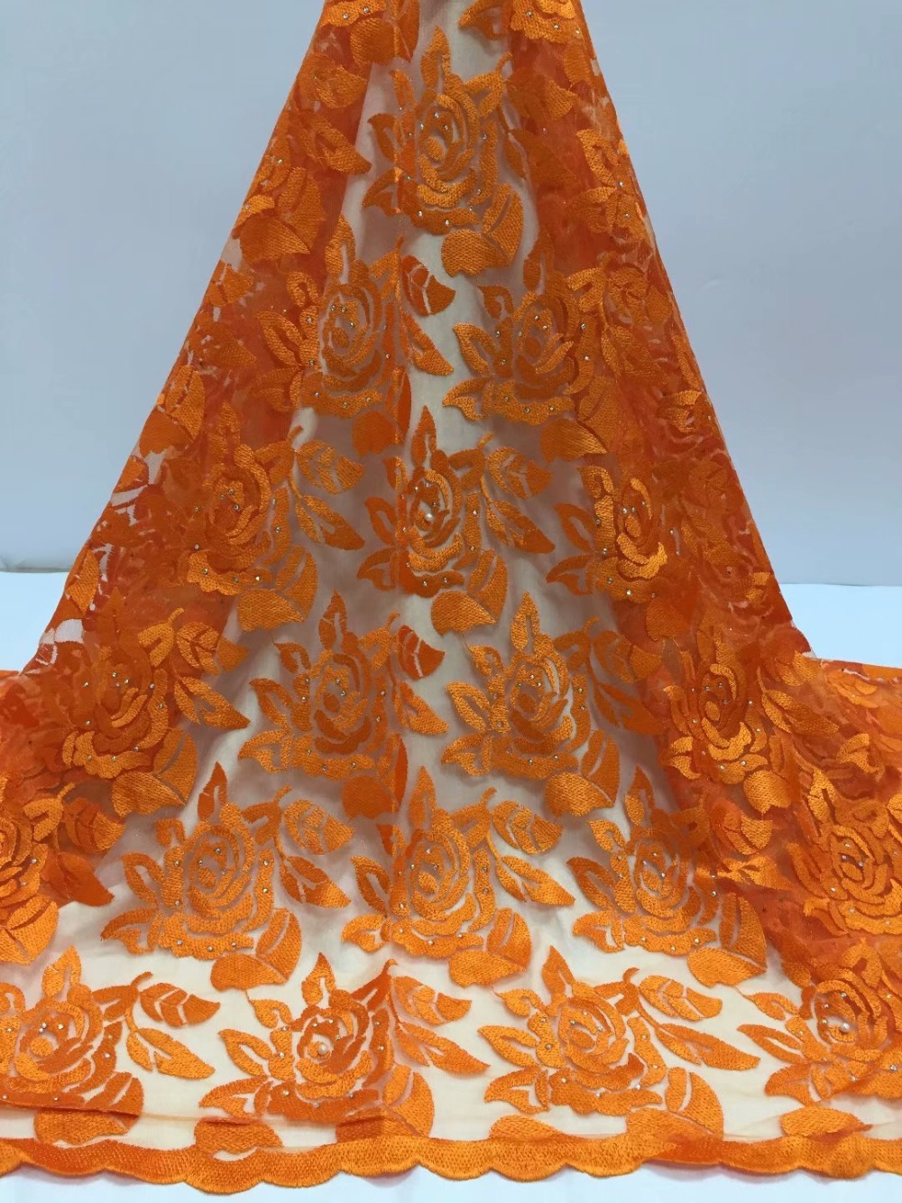 Orange African Lace Fabric 2019 High Quality Lace Nigerian Lace Fabric With Beaded And Stones Embroidery