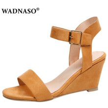 WADNASO Women Sandals 2019 Wedges Summer Casual Shoes Buckle Strap Roman Gladiator Sandalias Mujer black EU 34-43