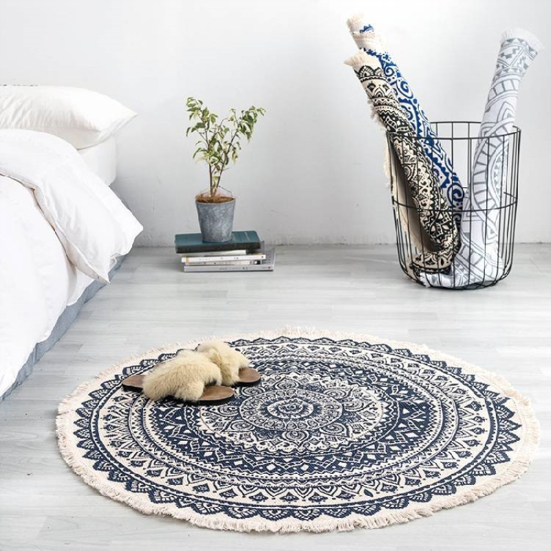 Retro Style Floor Carpets Linen Cotton Round Rugs Hand-knitted Sofa Chair Area Rug Living Room Bedroom Decor Floor Mat Diam 90cm