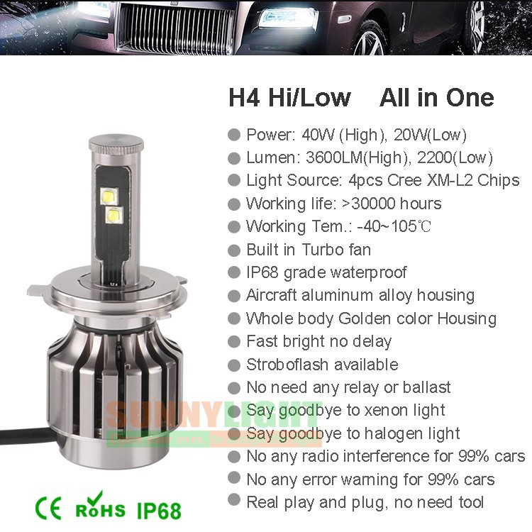 12- h4 40W high low light led headlight for car automobile head fog drl lamp