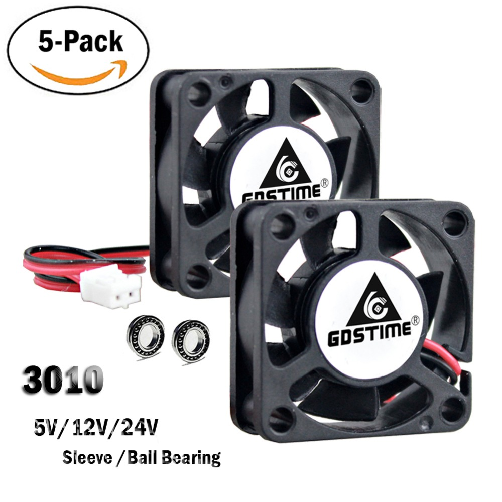 5Pcs Gdstime 3010 5V 12V 24V 2Pin 3CM 30mm 30x30x10mm Micro DC Mini Brushless Cooler Cooling Fan