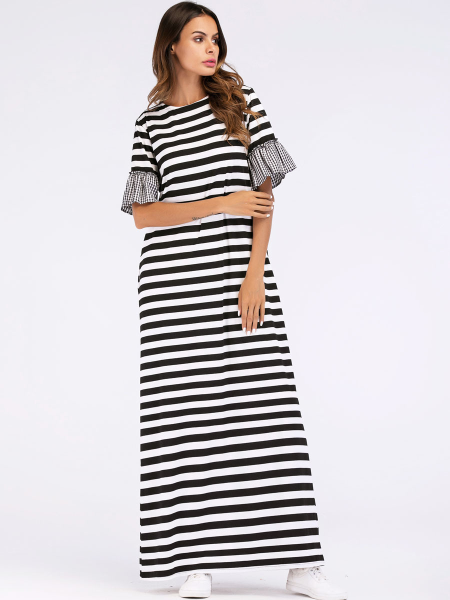 e40ba34f2e Benuynffy Plaid Patchwork Striped Long Summer Dress Womens Ladies ...