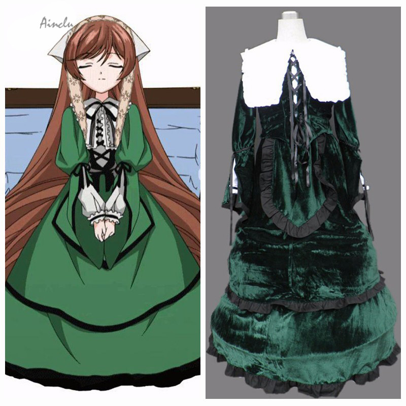 Ainclu Hot Selling Costume Rozen Maiden Anime Suiseiseki Halloween Cosplay For kids costume and adult costume