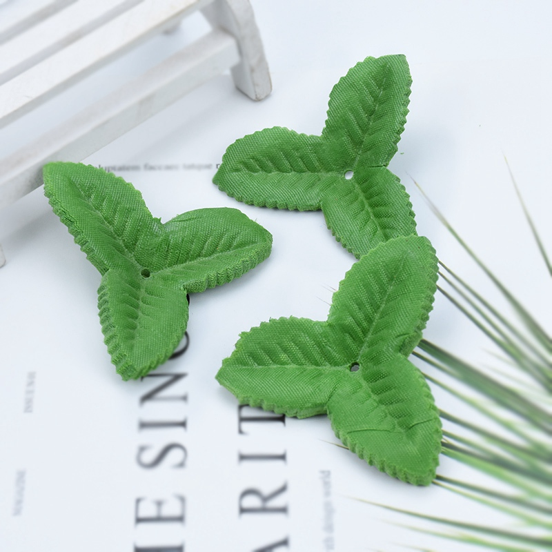 100pcs Silk leaf diy gifts candy box decorative flowers christmas wreaths artificial plants fake green Rose leaves scrapbooking