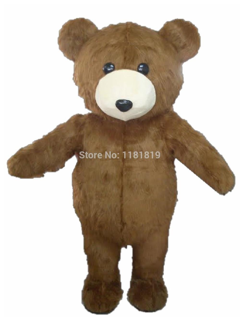 MASCOT Krásné dlouhé vlasy Plyšové Hnědé medvídky Maskotové kostýmy Dospělý velikost Bear Mascotte Suit Fit Efektní šaty Free Ship