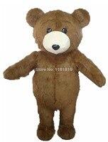 MASCOT Lovely Long Hair Plush Brown Bear Mascot Costume Adult Size Bear Mascotte Suit Fit Fancy Dress Free Ship