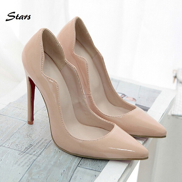 Nude Colors Fashion Patent Leather Wedding Party Shoe Women Pumps Sexy Pointed  Toe Ladies Shoes Woman 940bf5648f8b