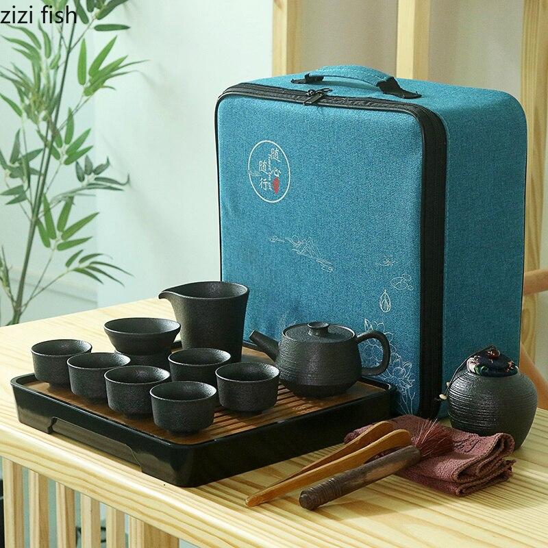 Set de thé de voyage en plein air Portable sac tasse céramique chinois rétro kung fu thé ensemble thé cérémonie ensemble accessoires de décoration de la maison - 2