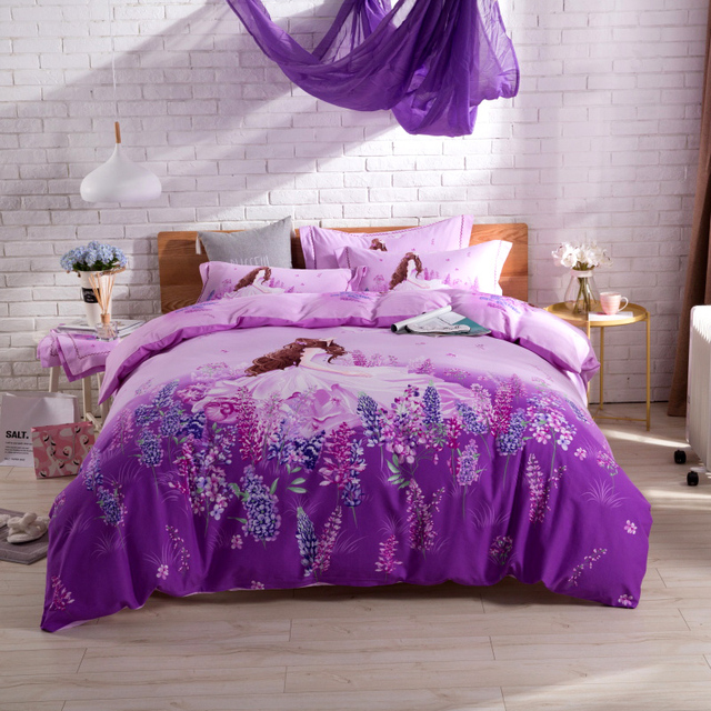 Lavender Rose Flowers Teen Girl Cute Bedding Set Queen King Size Duvet  Cover Flat Sheets Pillowcase