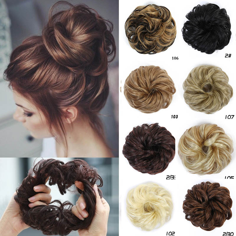 MUMUPI Hair Extensions Wavy Curly Messy Hair Bun Extensions Donut Hair Chignons Hair Piece Wig Hairpiece headwear fishtail braid with hair accessory