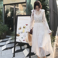 Mishow 2019 Women Dress White Frill O Neck Collar vintage Long Sleeve Korean Solid Lace Dresses vestidos MX19A1498