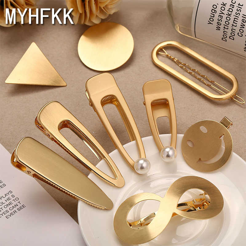 MYHFKK2019 hot gold silver hairpin ladies headwear punk geometry duckbill hairpin hair style bride tiara fashion jewelry FJ007