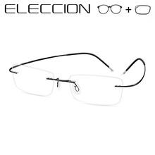 ELECCION Titanium Alloy Rimless Prescription Eyeglasses Corrective G asses Optical Frames Men Myopia Spectacles Vintage Eyeglass