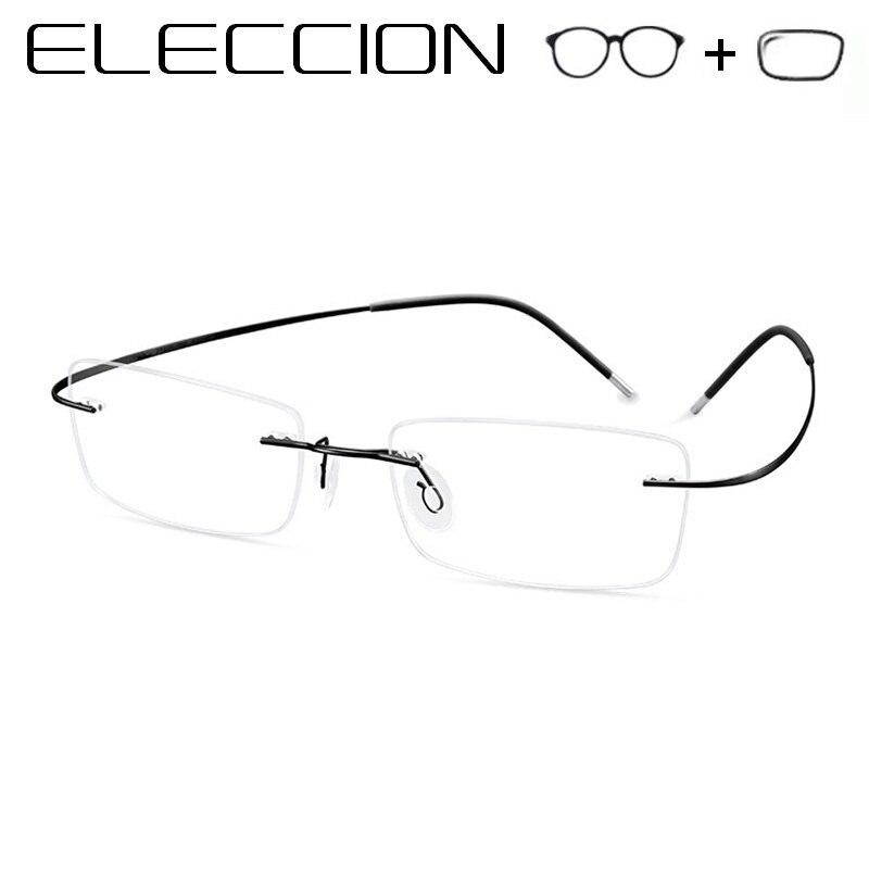 Liga de Titânio Óculos Sem Aro Prescrição Corretiva ELECCIÓN G; jumentos Óptica Quadros De Óculos Dos Homens Óculos de Miopia Do Vintage