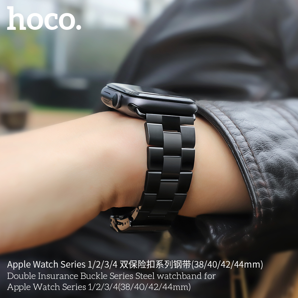 Image 2 - HOCO Bracelet Steel Band For Men Compatible With Apple Watch Series 4 3 2 1 Accessories Adapter For Iwatch 44mm 42mm 40mm 38mm-in Watchbands from Watches