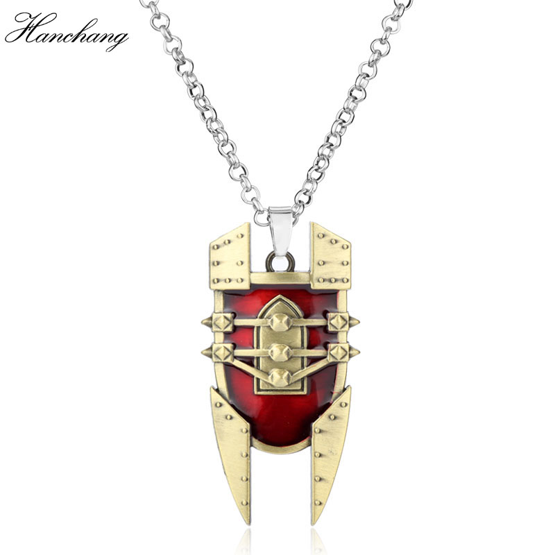 Hot game LO L the Mad Chemist Singed red Shield intricate Pendant Necklace durable Necklace attractive design chaveiro for Men