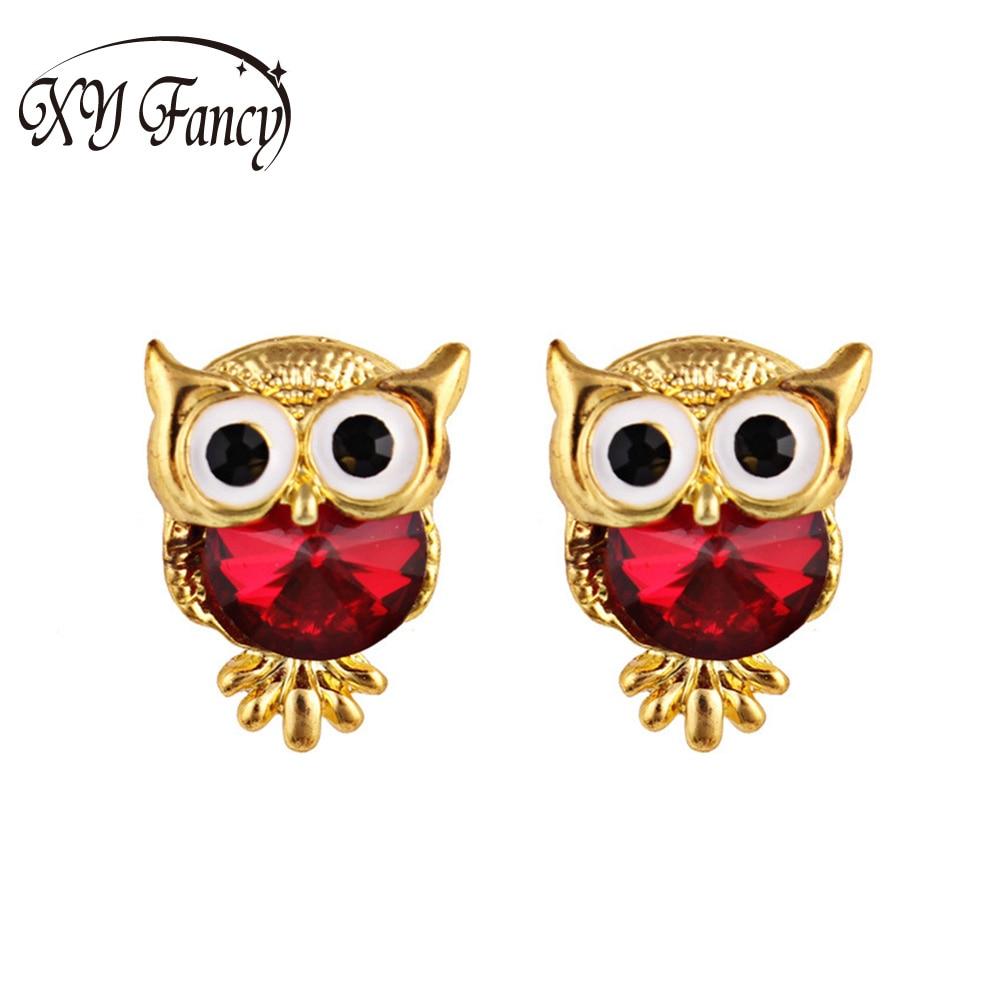 XY Fancy Fashion earrings 1 Pair Charming Lovely Owl Shape Crystal Ear Stud Wedding Gift Earrings