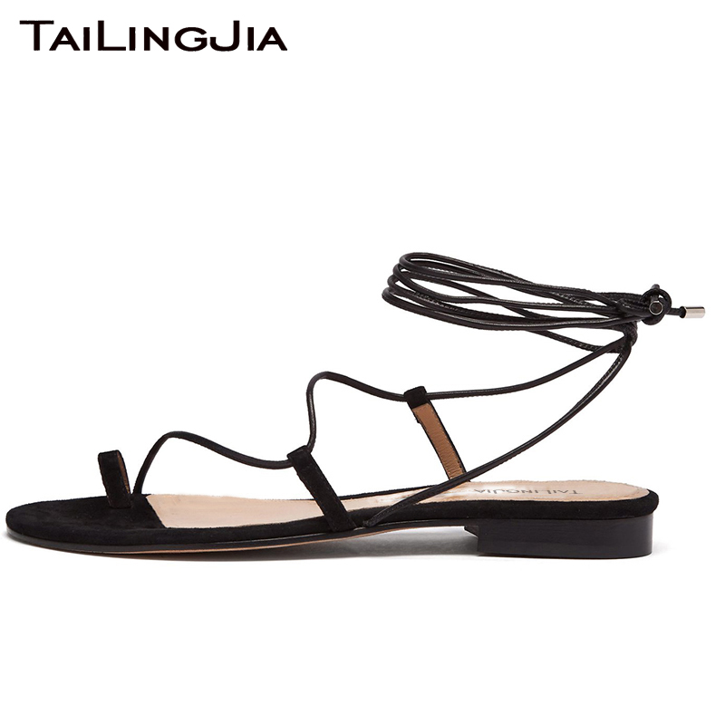 Fuax Suede Ankle Strap Woman Summer Flats Brand Black Women Party Shoes Ladies Cross Tied Brown Beach Plus Size Wholesale