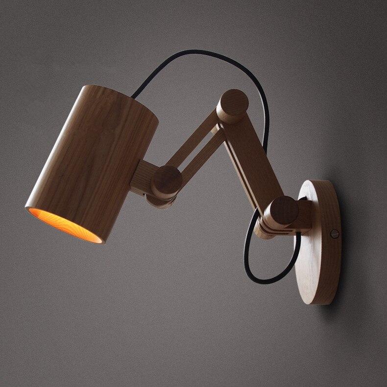 Деревянные стены телескопическая ночники бра NEW Nordic исследование творческий современный дом гостиная лампы MZ32