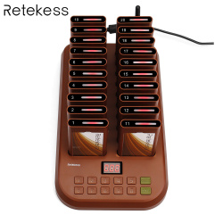 Retekess T116 Wireless Paging Queuing System Restaurant Pager 1 Transmitter + 20 Coaster Pagers Chargeable Restaurant Equipments