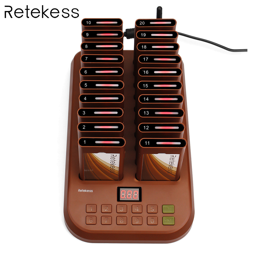 T116 Wireless Paging Queuing System Restaurant Pager 1 Transmitter + 20 Coaster Pagers Chargeable Restaurant Equipments tivdio wireless restaurant pager guest paging queuing system 1 transmitter 20 chargeable pagers restaurants equipments f9401a