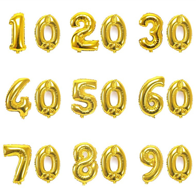 32 Inch Gold Digit Balloons 10 20 30 40 50 60 70 80 90 Years Adult Old Birthday Party Wedding Anniversary DIY Ballons Decoration