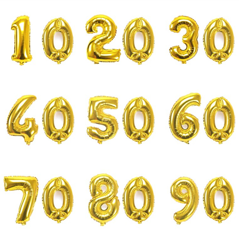 32 Inch Gold Digit Balloons 10 20 <font><b>30</b></font> 40 50 60 70 80 90 Years Adult Old <font><b>Birthday</b></font> Party Wedding Anniversary DIY Ballons <font><b>Decoration</b></font> image
