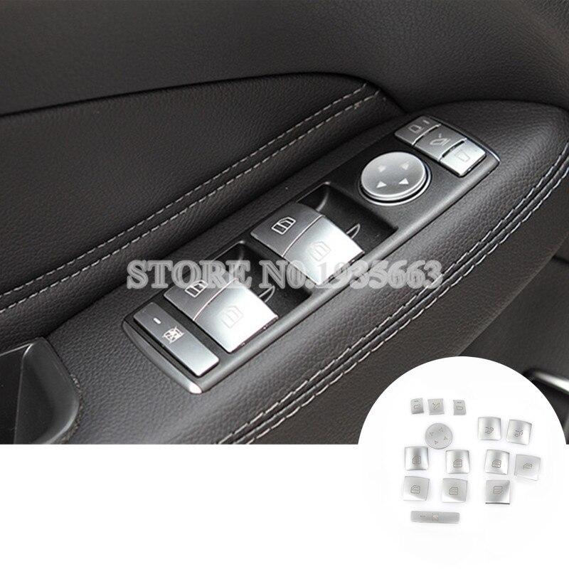 Inner Door Window Switch Button Trim Cover For Benz ML W166 2012-2015 GL X166 2013-2015 14pcs for benz cla c117 w117 inner door window switch button cover 2014 2017 14pcs