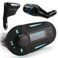 Car MP3 Player transmissor FM Com Display LCD Suporte USB Fonte de Cartão SD Adaptador de Acendedor de Cigarro 3.5mm fone de Ouvido Estéreo Jack