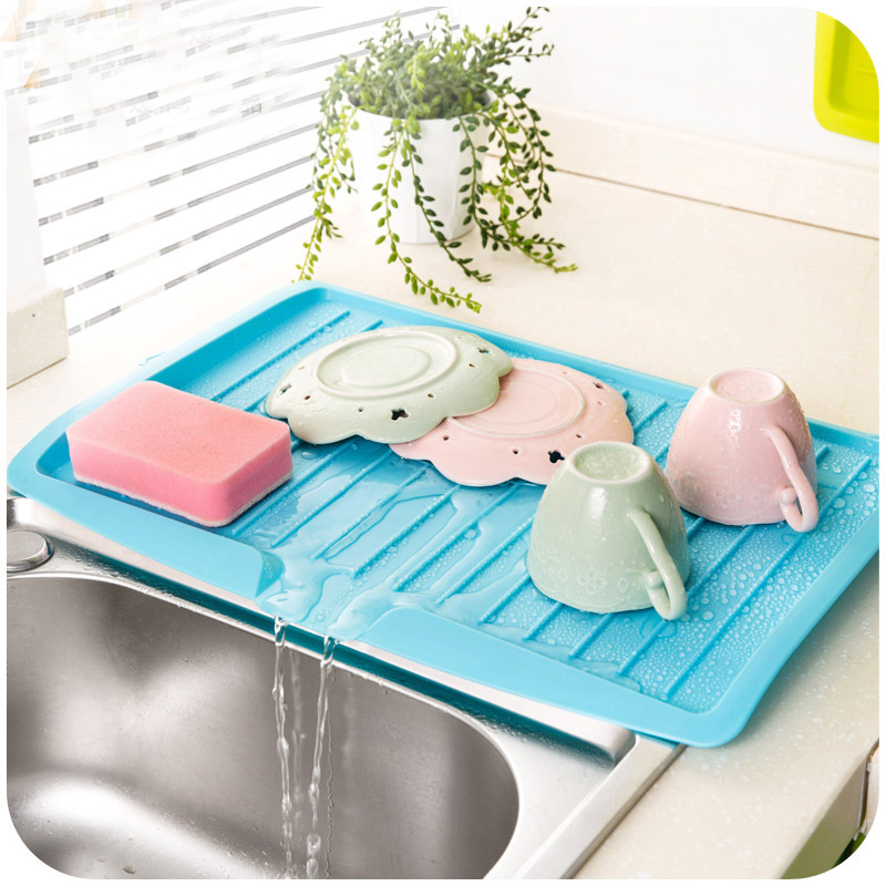 US $14.53 5% OFF|Kitchen Sink Dish Draining Board Tilted Tray With Outlet  Plastic New Vegetable & Fruit Sliding Shelf Drying Rack-in Storage Holders  & ...
