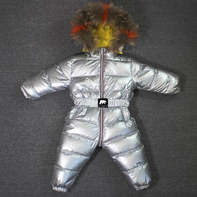803 חורף 30 תואר סרבל תינוק הסווטשרט טבע פרווה חליפת שלג סרבל ילדי אופנה בגדים חמים בני בנות למטה מעיל