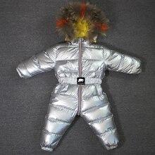803 inverno 30 Gradi Della Tuta Del Bambino Con Cappuccio di Pelliccia Naturale Tuta Tute E Salopette Dei Bambini di Modo di Vestiti Caldi Per Le Ragazze Dei Ragazzi Imbottiture giacca