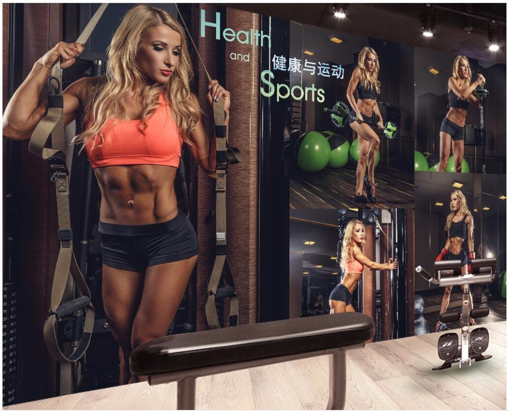 Us 1434 50 Off3d Wallpaper Custom Photo Gymnasium Fitness Sexy Beautiful Woman Work Outfit Background 3d Wall Murals Wallpaper For Walls 3 D In