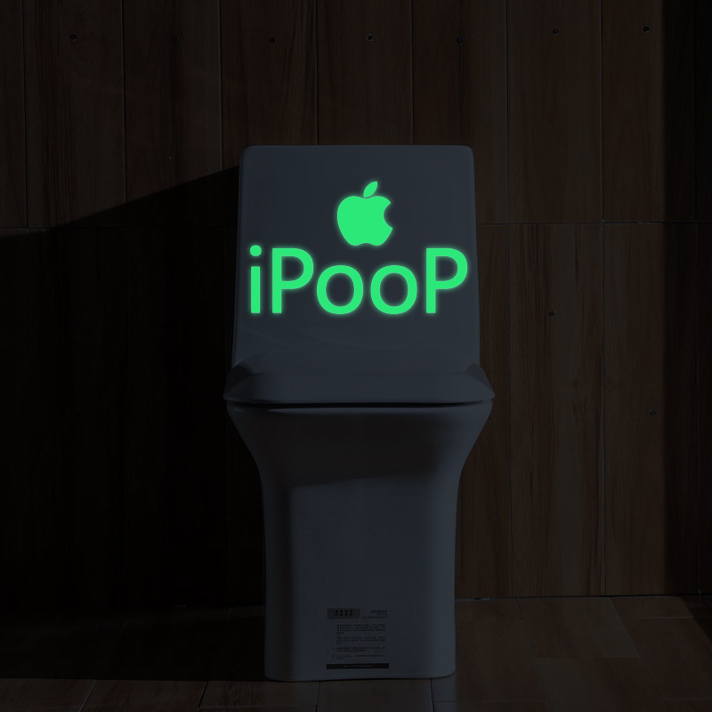Funny DIY Noctilucous Toilet Stickers Shining iPooP For Commode Decor Eco-friendly And Removable Decals For Home And Office