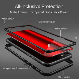 Image 3 - Metal Bumper Case For iPhone X XR XS Max Tempered Glass Back Cover Aluminum Metal Bumper Shockproof Case For iPhone 8 7 6s Plus